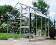Elite High Eave 6ft 3ins wide x 8ft 5ins long greenhouse finished in milled SILVER aluminium and featuring a rainwater kit, louvre window an...