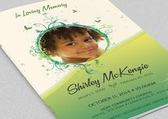 Memorial Funeral Program Template  Obituary Program Template
