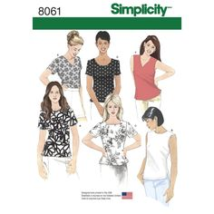 These essential tops are a must have staple for every wardrobe. Pattern includes short sleeves or sleeveless and necklines including scoop, crew, V-neck and square. Simplicity sewing pattern.