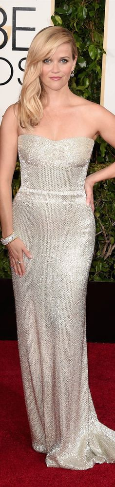 ON THE RED CARPET  via LOLO repin by BellaDonna *updated * Reese Witherspoon 2015 Golden Globe Awards