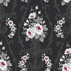 Black / White / Red / Silver Grey 617500 Darcy Floral Damask Arthouse Wallpaper