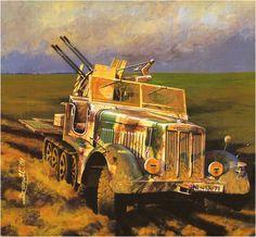 Sd.kfz. 7/1 (Early version) 2cm Flakvierling 38 auf Selbstfahrlafette, Rusia 1941. Brandt El Sd.kfz. 7 2cm Flakvierling 38 era capaz de alcanzar un ratio maximo de fuego de 1.800DPM, para lo cual transportaba 600 rondas dentro del vehiculo y adicionalmente 1.800 en un remolque de municion el Sd.Anh. 56, el arma era operada por una dotación de 10 hombres: El comandante, 8 artilleros y un conductor. Algunos modelos fueron equipados con escudos cortos, mientras que otros usaron escudos más…