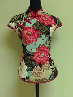 50s chinese shirt     vintage chinese clothing      Hand-made Chinese buttons