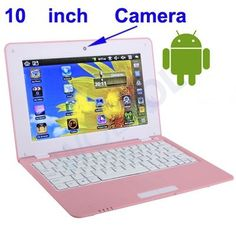 10 Inch White Mini Laptop Netbook Android Computer PC with WIFI Mouse Camera