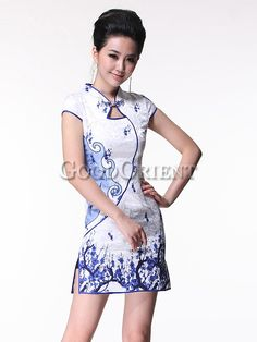 Blue&white porcelain floral design chinese dress