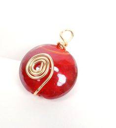 Wire Wrapped Pendant Red Glass Bead Pendant