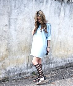 d226aa9dcc5 Brittany of The Pearl Oyster rocks our  Badger  gladiators with a denim  dress. Caleres · Circus by Sam Edelman