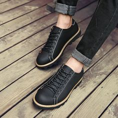 Winter New Zapatos For Men Fashion Schuhe Vintage Casual Man Shoes Designer Sapatos Homens Size 38 to 44 Black Dark Brown Yellow