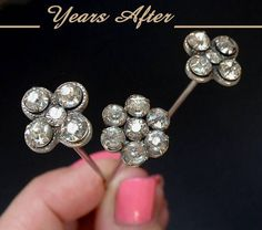 Antique Victorian HATPIN Paste Stone Flower Design, Set of THREE Hat from yearsafter on Ruby Lane