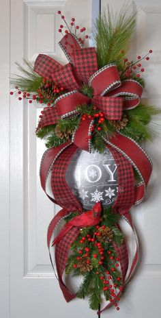 Christmas Traditional Teardrop Swag  Joy by GaslightFloralDesign