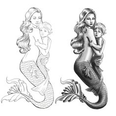 Ana and her daughter have a mermaid tattoo on her left arm as . - Ana and her daughter are mermaid-tattooed on the left arm as - Baby Mermaid Tattoo, Mom Baby Tattoo, Tattoo For Son, Baby Tattoos, Mermaid Tattoos, Tattoos For Kids, Tattoos For Daughters, Mermaid Art, Seahorse Tattoo