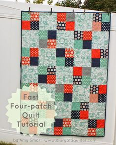 fast four patch quilt tutorial with measurement and fabric requirements for baby, twin, queen, and kind size quilts - great beginner quilt