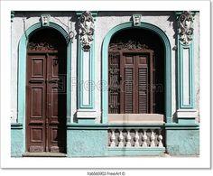 """Santiago de Cuba - beautiful colonial architecture. Door and window."" - Art Print from FreeArt.com"