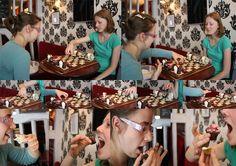 """Echiquier dans la ville- 2010. Cafe """"L'envers"""" échiquier en chocolat B/N"""