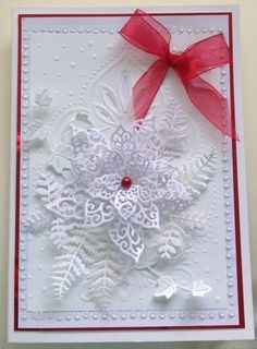 another Christmas card made with Sue Wilson's  poinsettia die beautiful die  www.delabur.co.uk