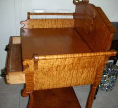 Antique 19th C. SOLID Curly Tiger Maple 1-Drawer Washstand Highly Figured c1840 | eBay