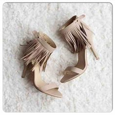 ⭐️SIZE 8.5, 10!⭐️NIB Nude Fringe Heels NIB Nude Boho Fringe Heels. Nude heel with adjustable ankle strap, fringe detailing, and padded footbed for comfort. FITS TRUE TO SIZE, approx 4 inch heel. Man made materials. Available in 8.5, 10. No Trades and No PaypalSold out of 6, 6.5, 7, 7.5, 8, 9 Shoes Heels