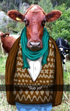 12. Una vaca hipster.