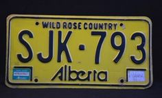 Picture of Yellow Alberta Car License Plate
