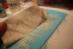 Transfer text with matte medium - http://lilhoneybeestudios.blogspot.com/2012/05/altered-journals-teacher-gifts.html?m=1