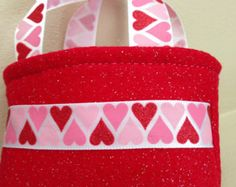 Valentine's Day Red Glitter Felt American Girl Doll Size Tote Bag / Purse / Toy / Party Favor / Gift Card Holder