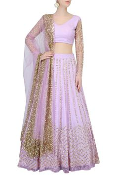 Lavender lehenga with Golden sequin embroidery