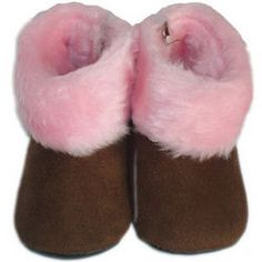 Fur Baby Boots in Brown with Pink