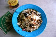 Oatmeal With Apples,Walnuts, Raisins, & Maple Syrup.