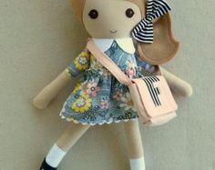 Fabric Doll Rag Doll Blond Haired Girl in Black por rovingovine