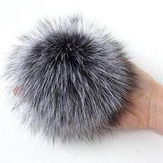 Real Fur Pom Pom Hat Silver Fox Pompom Fox Fur Pompom Large Pom Poms Fur Ball - Brought to you by Avarsha.com