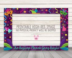 PRINTABLE Margi Gras Photo Booth Frame Mardi Gras Party