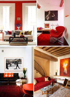 des poutres rouges Interior Inspiration, Red And White, Blanket, Bedrooms, Corner, Inspirational, Furniture, Design, Home Decor