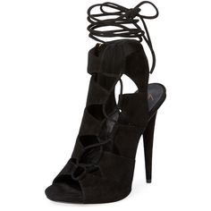 Giuseppe Zanotti Alien Suede Lace-Up Sandal (590 CAD) ❤ liked on Polyvore featuring shoes, sandals, black, suede sandals, black shoes, suede lace up sandals, suede shoes and giuseppe zanotti sandals