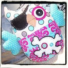 Pirate Owl Plushie - Teal Pink Damask Skull and Crossbones. $35.00, via Etsy.