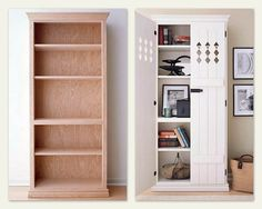Unfinished bookcase into a bathroom cabinet, or kitchen pantry. the doors are just 1x4's.