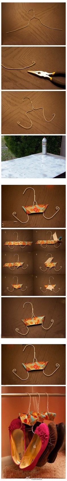 This is a good idea for the lower sections of our closet that aren't high enough for shirts... hang the shoes!