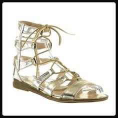 Angkorly Damen Schuhe Sandalen - Römersandalen - Sexy - Bestickt - Multi-Zaum Blockabsatz 2 cm - Gold 2015-903 T 39 Yu2RwA