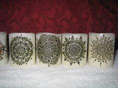 Flameless Henna LED Votive Candles Set - Mandalas. $34.00, via Etsy.