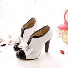 $31.28 Sexy Lady Beige Bow Pump Platform Women High Heel Shoes