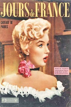 1955 March edition: Jours de France (French) magazine cover of Marilyn Monroe  .... #normajeane #vintagemagazine #pinup #iconic #raremagazine #magazinecover #hollywoodactress #monroe #marilyn #1950s