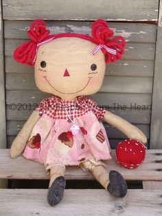 Raggedy Ann Doll with Cupcake Pattern by CindysHomespun on Etsy