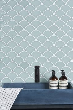 Scallop-shaped tiles are one of the latest trends for interiors and our Gelato design is available in a mouthwatering selection of sorbet and ice-cream shades. Use as a splashback or feature areas and make your space sing. Scallop Tiles, Splashback, Porcelain Tile, Sorbet, Gelato, Mosaic, Artisan, Mint, Make It Yourself
