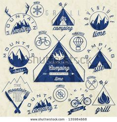 Retro vintage style symbols for Mountain Expedition: Adventure, Mountain Camping, Mountain Hunting, Mountain Tour, Mountain Foods, Camping site, Camping Grill, Biking Tours. Mountain feeling. Vector. by Vector Maker, via ShutterStock