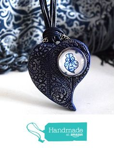 Fado Song Necklace. Ethnic Portuguese Jewelry. Polymer Clay Blue Necklace. from Moon´s Touch https://www.amazon.com/dp/B07344G1RJ/ref=hnd_sw_r_pi_dp_OhetzbJ20ZSHB #handmadeatamazon
