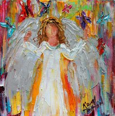 Original oil painting Angel and Butterflies - 6x6 palette knife impressionism on canvas fine art by Karen Tarlton