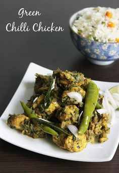 andhra chilli chicken would be a great addition to a party menu as a starter / appetizer or even as a side dish to rice varieties like pulao or biryani and even as a side dish with rasam rice. Making this hot and spicy south Indian chicken starter is qui Green Chilli Chicken Recipe, Indian Chicken Recipes, Chicken Chili, Veg Recipes, Spicy Recipes, Indian Food Recipes, Cooking Recipes, Chicken Curry, Andhra Recipes