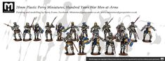 28mm Plastic Perry Miniatures, Hundred Years War Men-at-Arms, painting by Miniaturefigurepainter.co.uk Grey Knights, Painting Services, Arms, Miniatures, Action, Plastic, Men, Group Action, Guys