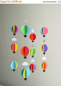 ON SALE Hot Air Balloon Baby Mobile Bright Spark