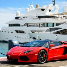MARBELLA, SPAIN - OCTOBER Front view of a red super sport car (Lamborghini) parked alongside luxury yachts moored in the marina of Puerto Jose Banus, Spain, on October Haifa Wehbe, Lamborghini Aventador, Sports Cars Lamborghini, Porsche Cars, Malaga, Luxury Lifestyle Women, Rich Lifestyle, Wealthy Lifestyle, Yacht For Sale