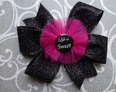 Life is sweet. Black and pink, fuschia. Hair bow, hair bows, hairbow, hairbows, hair accessories, hair accessory, Bowberry Creations, Boutique bow, bowtique bow, twisted bow, loopy bow, fluffy bow, cheer bow, baptism bow. Beautiful handmade bows. Custom orders welcome. www.etsy.com/shop/bowberrycreations www.facebook.com/bowberrycreations